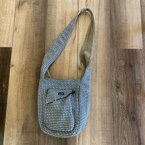 Kavu Blue & White Houndstooth Small Crossbody Bag